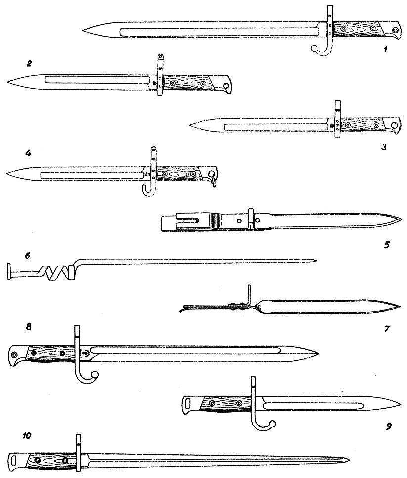 Штыки к магазинным винтовкам. Австро-Венгрия: 1. М1888, унтер-офицерский длинный к винтовкам Манлихера 1888/90 и 1889 гг. 2. М1888 короткий кавалерийский. 3. М1895 к винтовке Манлихера 1895 г. 4. М1895 унтер-офицерский кавалерийский. 5, 6, 7. Так называемые 'эрзац-штыки' к винтовке Манлихера 1895 г., изготавливавшиеся во время первой мировой войны по максимально упрощенной технологии. Аргентина: 8. M1909 к винтовке Маузера 1891 г. Бельгия: 9. М1889 к винтовке Маузера 1889 г. 10. М1916 к винтовке Маузера 1889 г